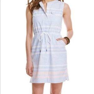 Vineyard Vines Blue Striped Drawstring Dress SZ 8